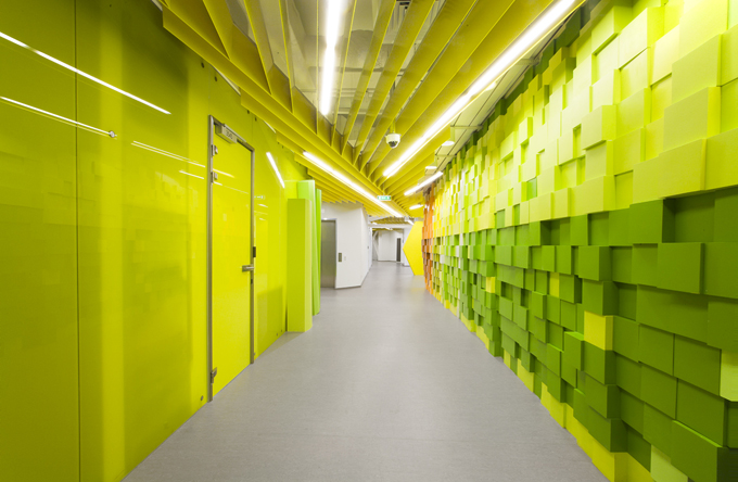Striking Green Corridor Walkway